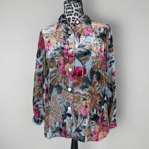 Soft Surroundings Velvet Floral Button-Up